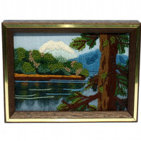 70s Mountain Landscape Picture Wall Hanging Embroidered Kitsch Retro Decor / Nature Scene Forest and Lake