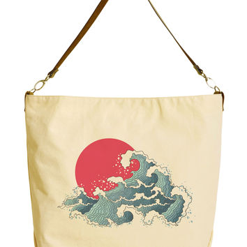 The Great Wave Kanagawa-1 Beige Print Canvas Tote Bag with Leather Strap WAS_29