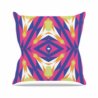 "Miranda Mol ""Tulip Tribal"" Green Blue Outdoor Throw Pillow"