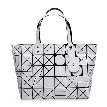 Women Matte Colors Bag Laser Sac Tote Bags Geometry Quilted Shoulder Bag Foldover Handbags