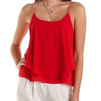Rhinestone Strap Flounce Tank Top by Charlotte Russe - Red