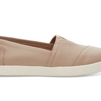 TOMS Stucco Leather Embossed Women's Avalon Sneaker Brown