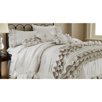 Colonial Home Textiles Pearl White Eight-Piece Anastacia Ruffle Comforter Set | zulily