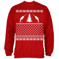 Narwhal Ugly Christmas Sweater Red Adult Sweatshirt