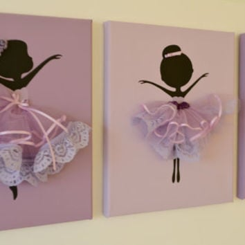 Dancing Ballerinas Wall Art. Set of three dancing ballerinas in lavender.
