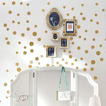 Wall Decal, Metallic Dottie, Gold