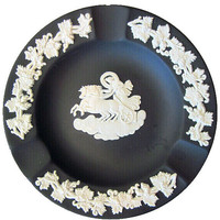Vintage Wedgwood Wedgewood Jasperware Black Ashtray Beautiful & Affordable Tiny Chip See 4th Picture