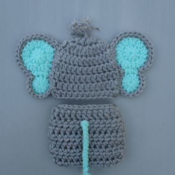 Baby Elephant Outfit Dallas Grey Mint Newborn Photo Prop