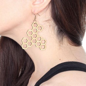 Honeycomb Earrings. Laser Cut Wood.