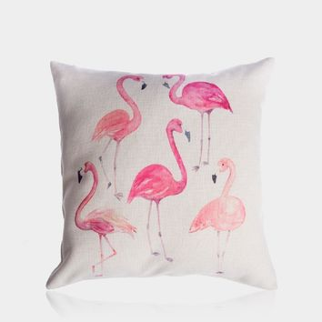 "Flamingo Group Pillow Cover 18"" x 18"""