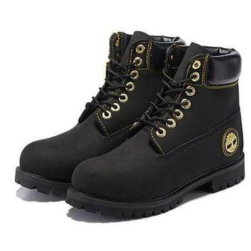 ONETOW Timberland Men Women 6 Inch Premium Boot Black and Gold Metal Logo