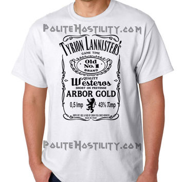 TYRION LANNISTER Game of Thrones funny clever tribute T Shirt  with iconic whiskey logo details (BLack ink  on white tee)