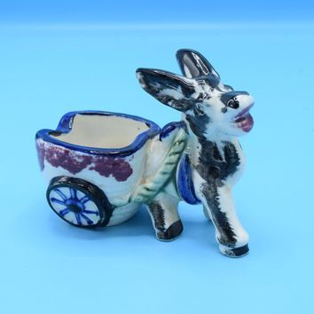 Donkey Planter Japan Vintage Ceramic Painted Donkey Pulling Cart Plant Trinket Holder Indoor Planter Gift for Her Friend Air Plant Holder