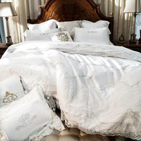 GORGEOUS! White Lace Summer Cottage Bedding, Shabby Chic Linen Style, European Love, Romantic Wedding Bedding. Luxurious and Amazing Egyptian Cotton.