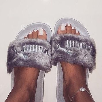"""PUMA"" Rihanna Fenty Leadcat Women/Men Lover Fur Slipper Shoes"