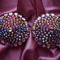 Crown Jewel Burlesque Pasties Pink Nipple Covers adorned with Aurora Borealis rhinestones