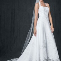 Satin halter A-line Gown with Beaded Lace Applique - David's Bridal