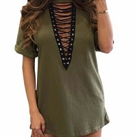 Matcha Lace Up Top