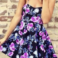 Spaghetti Straps Sleeveless Backless Floral Print A-Line Mini Dress