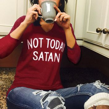 Women Not Today Satan Letter Printed 3/4 sleeve V-Neck Tee T-Shirt Top Blouse