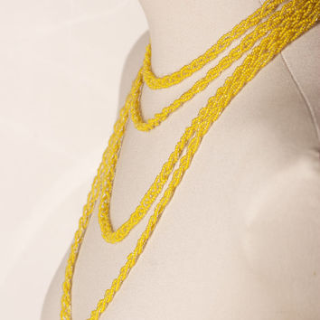 Vintage Long Braided Yellow Bead Necklace