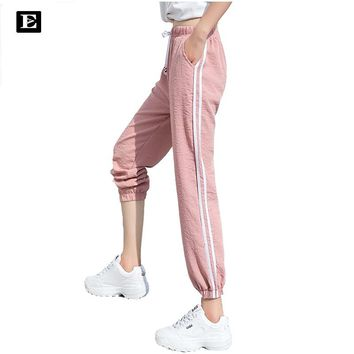 Double Striped Jogger Haren Pants Long Leisure Pants Women Bottoms Summer Spring Female Clothes Sweatpants Sportswear Trousers