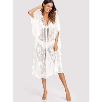Lace Insert Embroidered Mesh Cover Up Dress