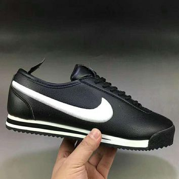 NIKE Classic Cortez Leather Men Fashion Casual Running Sport Shoes Sneakers Black G-XYXY-FTQ