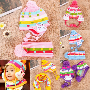 Winter Baby Toddler Boys Girls Winter Ear Flap Warm Hat Bebe Hat With Scarf Beanie Cap Monkey Kids Winter Cap Children Headwear