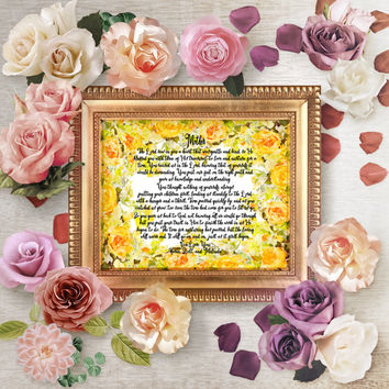 Personalized Mom Art Print, Digital Mother Poem, Personalized Mom Poem Gift, Personalized Mother's Day Wall Art Gift, Christian Gift For Mom