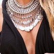 """Boho Necklace """"Ethnic Chic long"""" Oriental silver coin"""