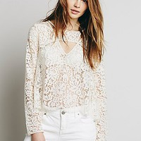 Free People Womens Lace Cutout Top