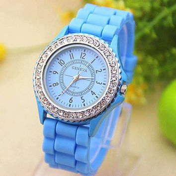Sparkly Silky Silicone Watch in Sky Blue