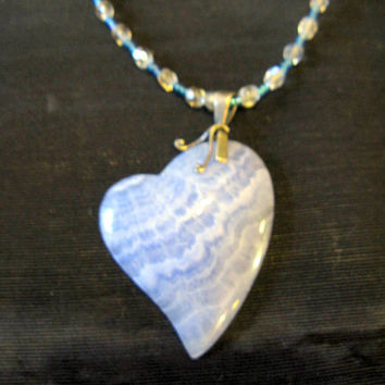 Blue Heart Necklace, Long Necklace with Pendant, Beaded Necklaces