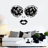 Vinyl Wall Decal Sexy Woman Face Glasses Lips Girl Beauty Salon Stickers Unique Gift (ig3533)