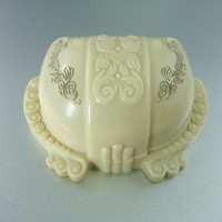 Antique Art Deco Celluloid Ring Box, Carved, Ornate, Engraved, Cream & Pink. Rare.