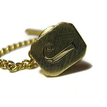 Vintage Tie Tack Lapel Pin Diamond Cut Engraved Initial Letter J Brushed Gold Tone Mid Century Hipster Retro Mens Formal Accessories