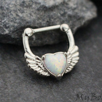 Opal Septum Clicker, Septum Clicker 16g, Silver Nose Jewelry, Crystal Nose Ring, 16 Gauge, Heart Jewelry, Wings Jewelry, Opalite, Fire Opal
