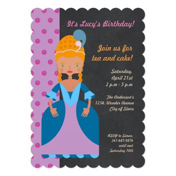 Queen of France girl birthday party invitation