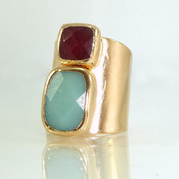 Gemstones Ring, Amazonite & Ruby Jade Statement Ring, 24K Gold  Adjustable Wide Band Ring, Rectangle Ring.