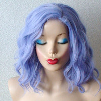 Pastel wig. Lavender blue wig.  Beach wave hairstyle wig. Short wig. Cosplay wig.