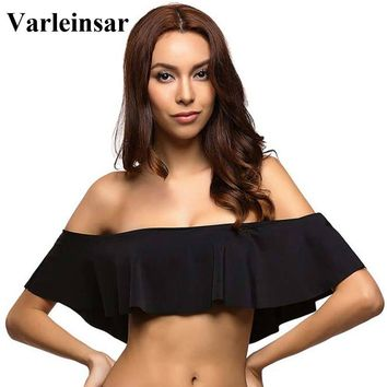 2017 Sexy black rose pink bandeau ruffle off shoulder bikini top crop swimsuit bathing suit swim for women swimwear female V14TB