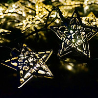 LED SopoTek 5Mters 20LED Solar Powered Fairy String Lights iron/silver Star shaped Outdoor Decorative Lights for Christmas Wedding Party Garden Lawn Patio Decoration, Waterproof (20LED Yellow/Warm white)