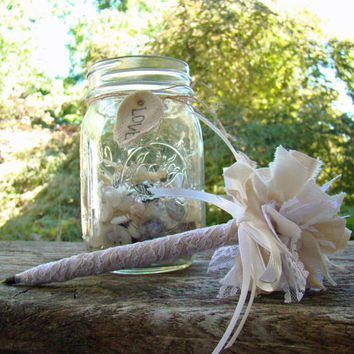 Lace Guest Book Pen, Rustic Wedding Pen, Guest Book Pen, Burlap Wedding, Neutral, Ivory, White Lace, Wedding Guest Book