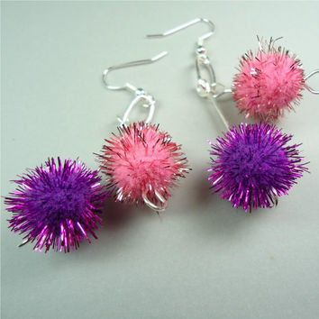 "Puff Ball Earrings 1 3/4"" Dangle Pink Purple Fiber Art Pom Poms Football School Cheerleader Spirit Women Ladies Girls Pierced 528"