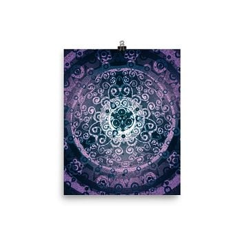 Purple Mandala Poster Meditation Yoga Grunge Hippie