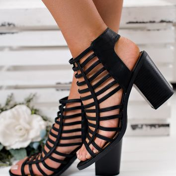 Macy Strappy Booties (Black)