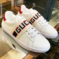 Gucci Women Men White Big Word Stripe Surface Velcro Lace Up Sneakers B-CSXY White