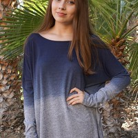 Big City Navy Blue Ombre Wide Neck Long Sleeve Top