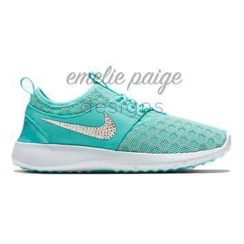 Tagre™ Nike Juvenate (Teal) running shoes with Swarovski Crystals